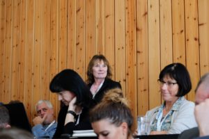 Vickie Herian of SWST addresses the group at the InnoRenew CoE Living Lab Workshop in Izola, Slovenia on 13.09.2017.