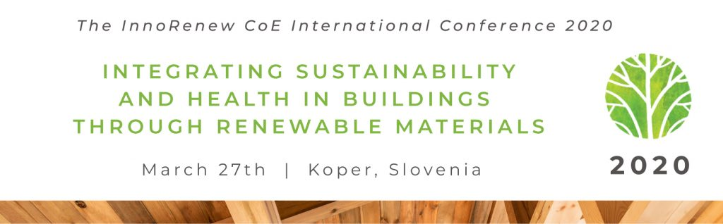 Announcement for the InnoRenew CoE International Conference 2020 in green and grey text. A small horizontal slice of wooden construction is visible along the bottom.